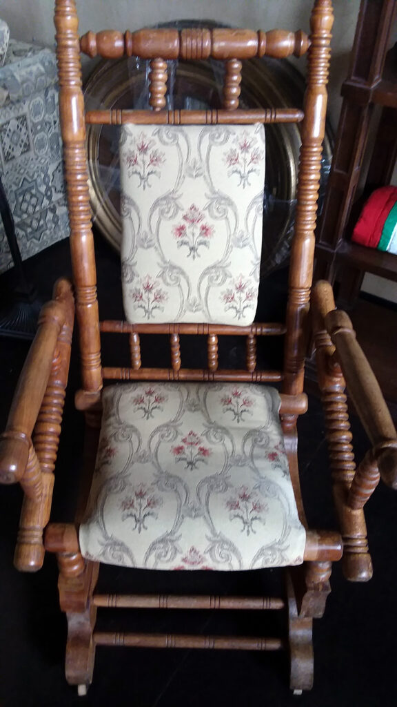 Antique Wooden Rocker with Fabric