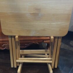 Set of 3 Wooden TV Dinner Tables with Holder