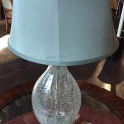 Table Lamp - Blue Shade & Crackled Base - Set of 2