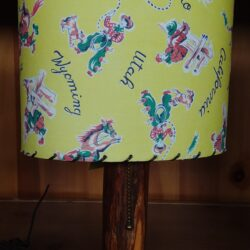 Table Lamp - Cowboy Shade & Wooden Base