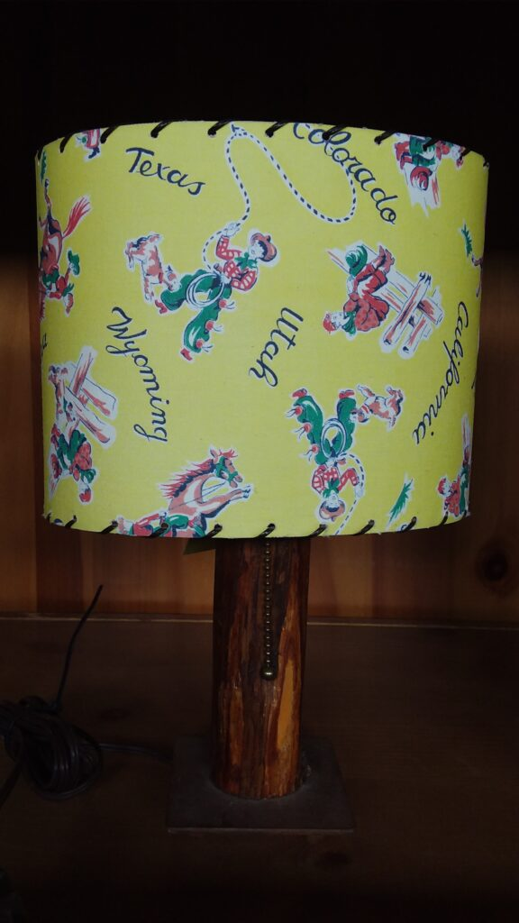 Table Lamp - Cowboy Shade & Wooden Base