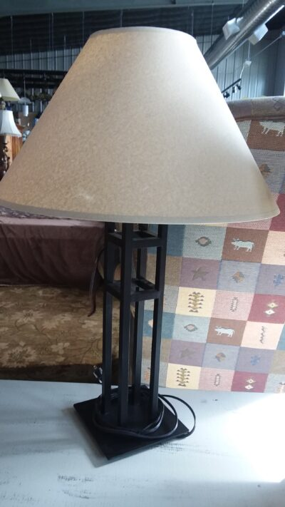 Table Lamp - Tan Shade & Metal Base